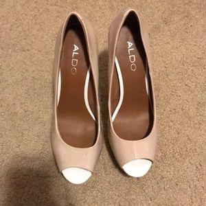 Nude and white peep toe heels